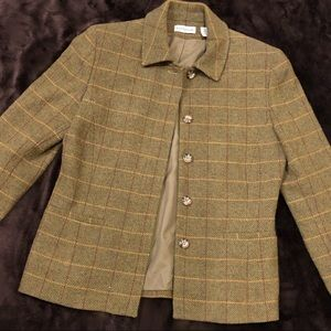Ann Taylor green and yellow textured blazer